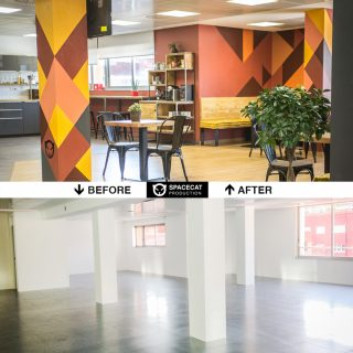 interior design, custom furniture and original wall painting for TravelPerk office by ALLY