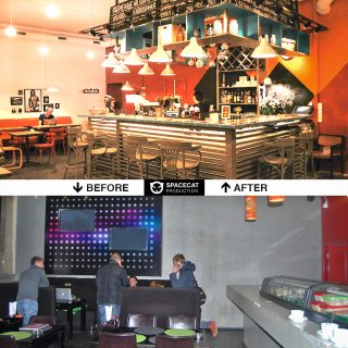 before and after interior design and renovation for bar- restaurant OGI