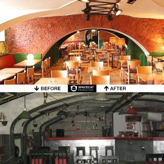 before and after interior design and renovation of restaurant in Saint Petersburg