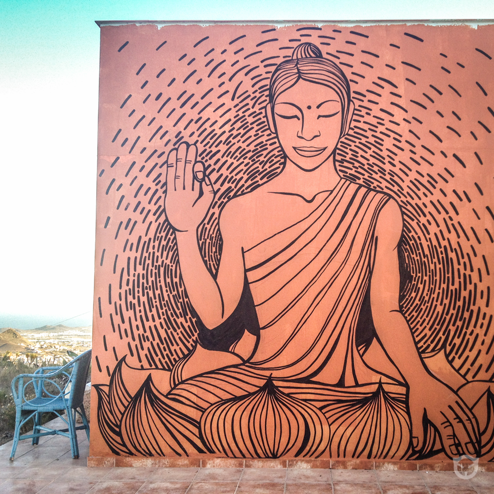 Buddha art, original wall painting art by artist @ally.space.cat
